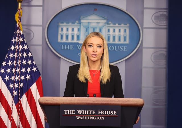 <p>File: White House Press Secretary Kayleigh McEnany speaks in the James Brady Press Briefing Room on 7 January 2021 in Washington, DC, a day after armed protesters breached the US Capitol to disrupt the vote to certify Joe Biden as the next President of the country</p>