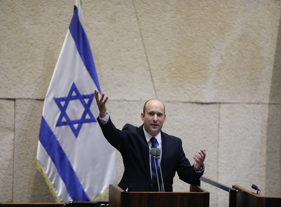 <p>Naftali Bennett speaks during a special voting session on the formation of a new coalition government at the Knesset, the Israeli parliament</p>