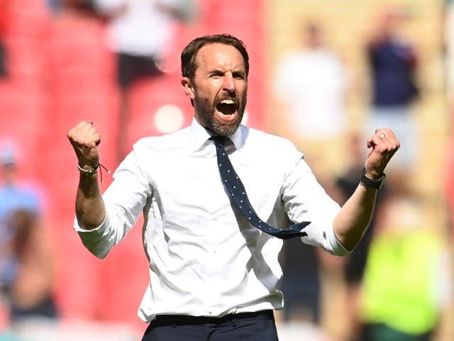 <p>Home ground: England manager Gareth Southgate celebrates England's wining goal against Croatia at Wembley</p>
