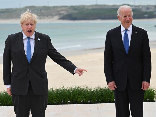 <p>Boris Johnson and Joe Biden at the G7 summit in Cornwall last week</p>