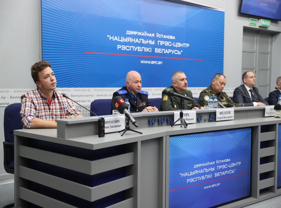 <p>Protasevich said he was speaking freely at the press conference</p>
