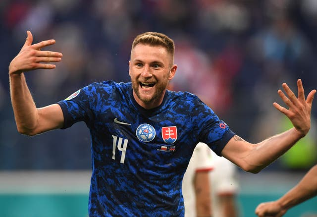 <p>Milan Skriniar scored the winner as Slovakia stunned Poland</p>