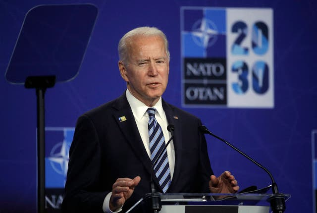 US President Joe Biden speaks during a press conference after the NATO summit at the North Atlantic Treaty Organization (NATO) headquarters in Brussels, on June 14, 2021