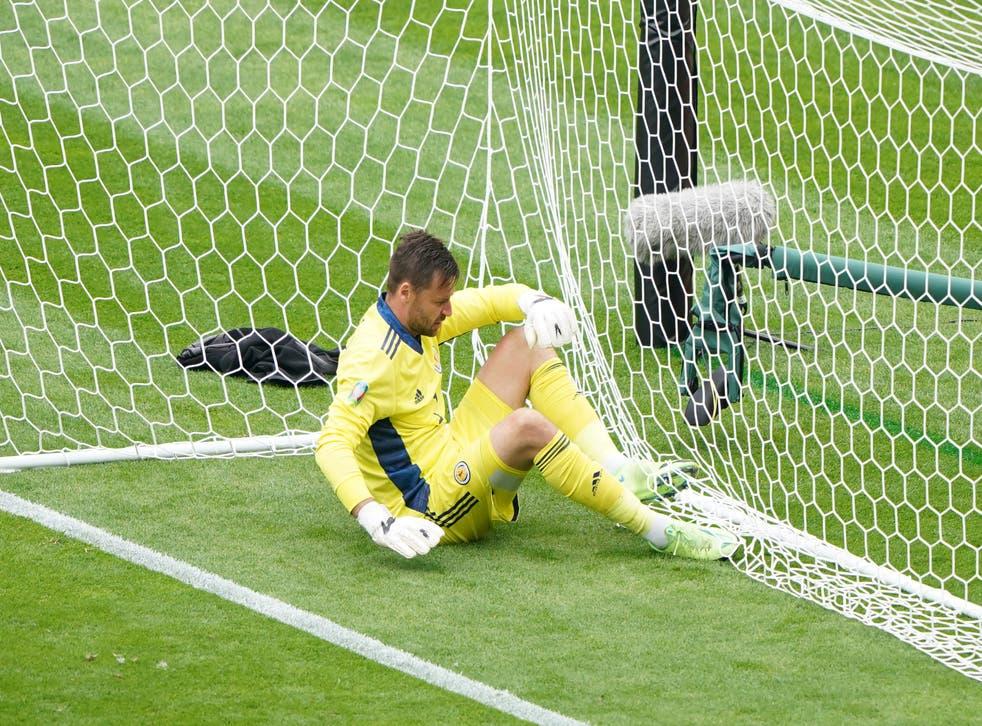 <p>Scotland goalkeeper David Marshall was beaten Patrik Schick</p>