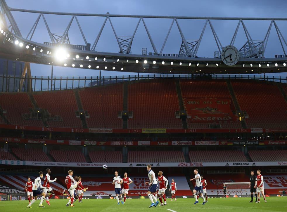 Arsenal take on Tottenham at an empty Emirates Stadium