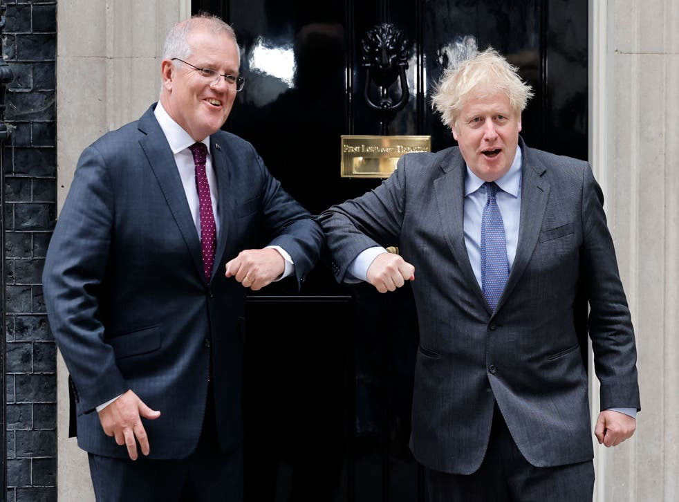 <p>Boris Johnson greets Scott Morrison at 10 Downing Street on Monday</p>