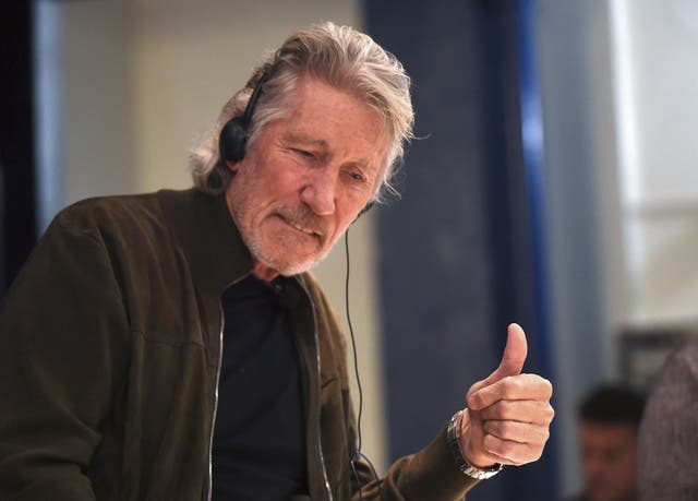 <p>British rock icon and activist Roger Waters gives his thumb up during a conference on Palestinian situation and Human Rights at the Uruguayan unions' organisation (PIT-CNT) headquarters in Montevideo, on 2 November, 2018</p>