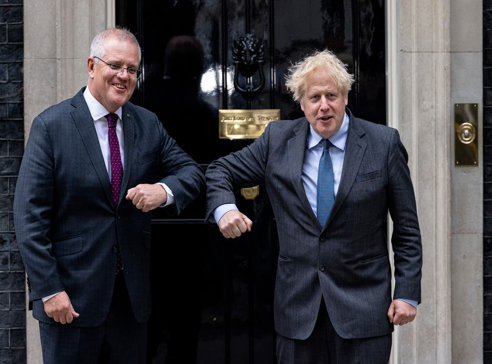 <p>Boris Johnson welcomes Australian prime minister Scott Morrison to 10 Downing Street for talks on Monday</p>