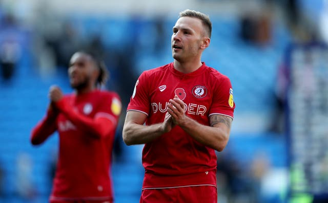 Bristol City's Andreas Weimann applauds the fans at full time during the Sky Bet Championship match at the Cardiff City Stadium.