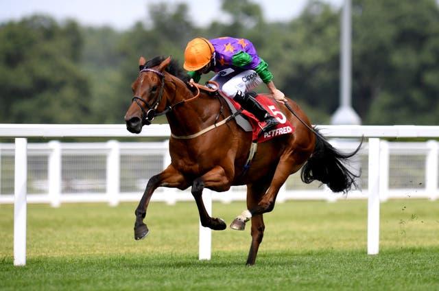 Lady Bowthorpe, ridden by jockey Kieran Shoemark, wins the Betfred Valiant Fillies' Stakes at Ascot Racecourse