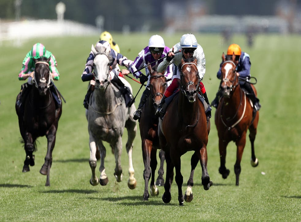 Palace Pier and Frankie Dettori (second right) on their way to winning the Queen Anne Stakes at Royal Ascot