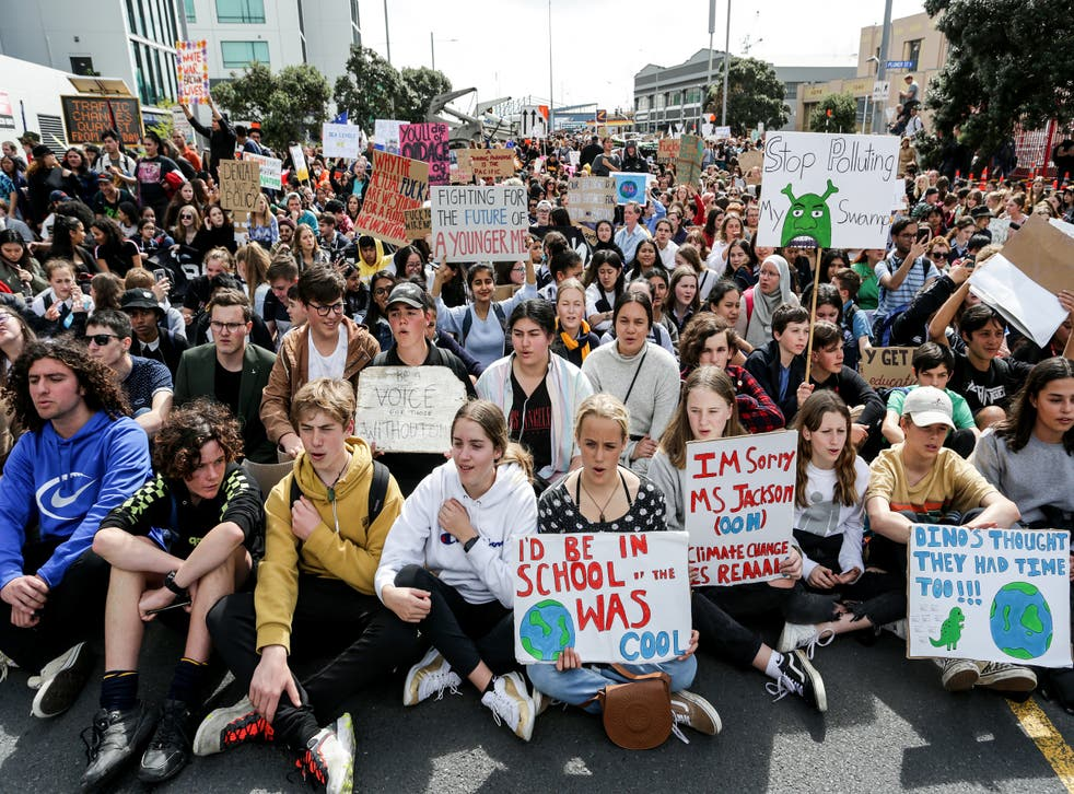 <p>Climate change supporters march in Auckland on September 27, 2019</p>