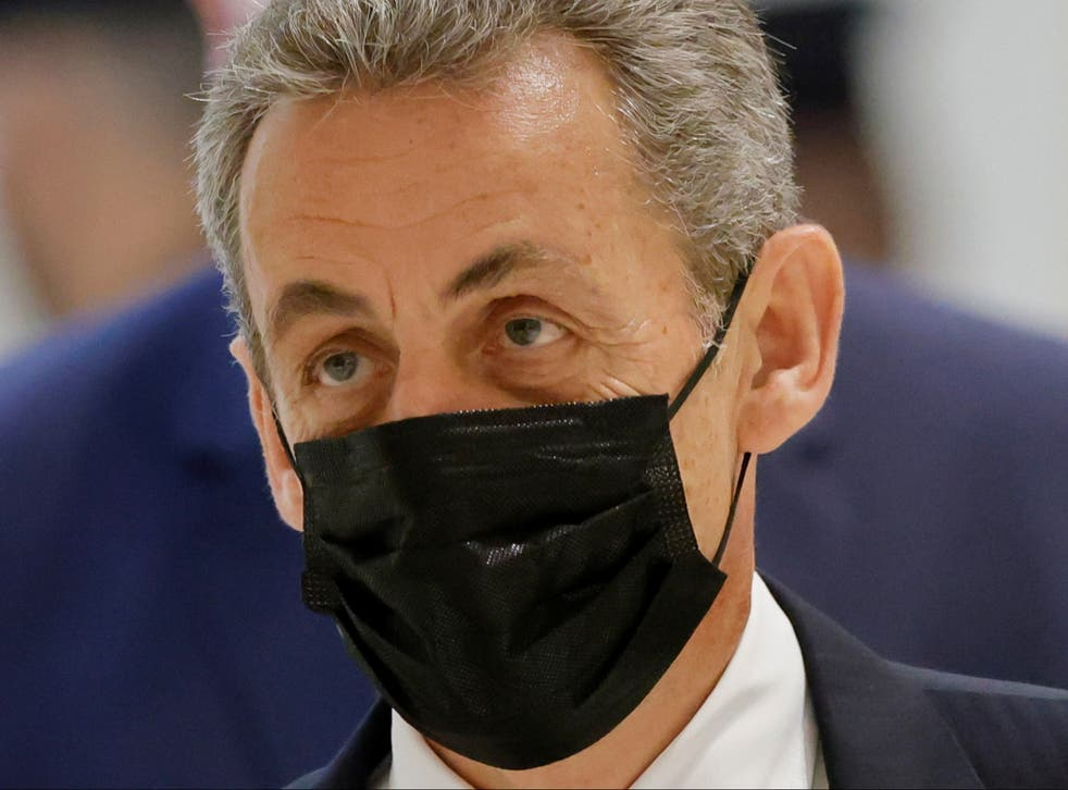 <p>Nicolas Sarkozy arrives for a hearing in a trial over alleged illegal financing of his failed re-election campaign in 2012</p>