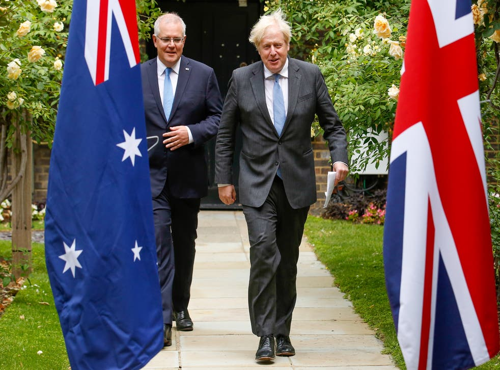 <p>Boris Johnson with Australia's prime minister Scott Morrison at No 10 on Tuesday</p>