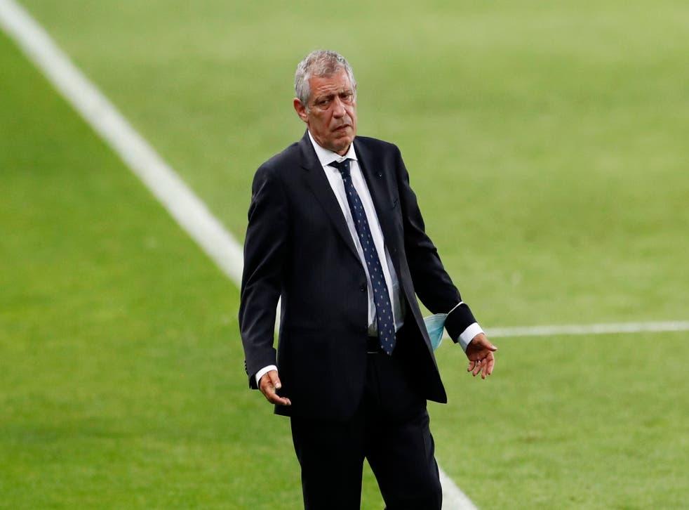 <p>Portugal coach Fernando Santos gestures on the touchline</p>