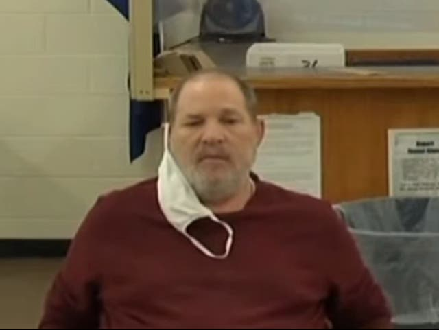 <p>Harvey Weinstein attends a hearing about his extradition to California in Erie County Court on 15 June 2021</p>