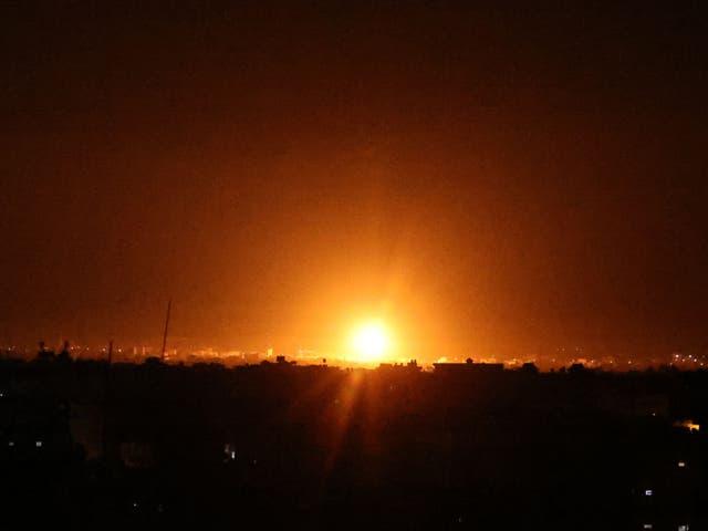 <p>An Israeli airstrike on the city of Khan Yunis</p>