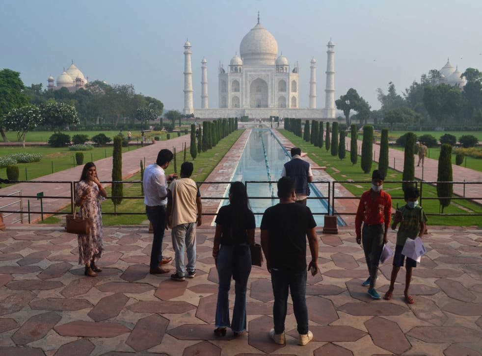 Virus Outbreak India Taj Mahal