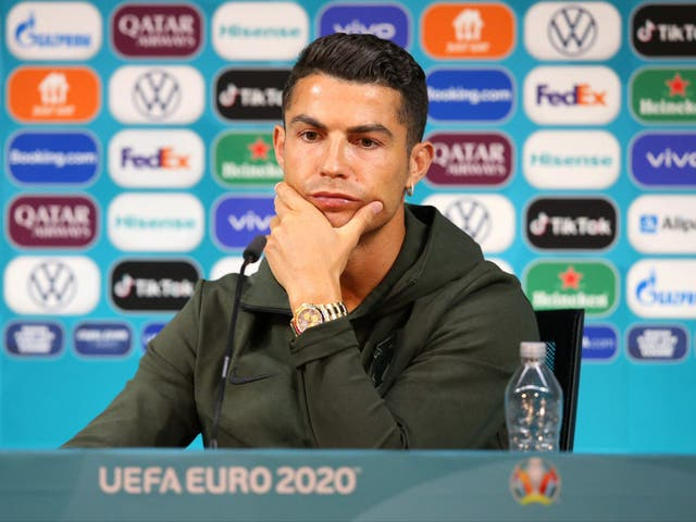 <p>Cristiano Ronaldo at the Puskas Arena in Budapest on the eve of the Euro 2020 football match between Hungary and Poland</p>