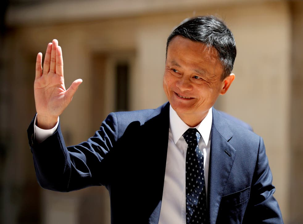 <p>File image: Jack Ma, billionaire founder of Alibaba Group, arrives at the 'Tech for Good' summit in Paris in May 2019</p>