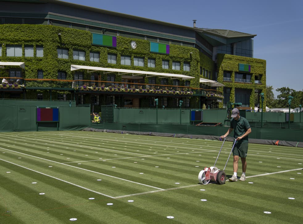 <p>Lines are painted on the outside courts at Wimbledon</p>