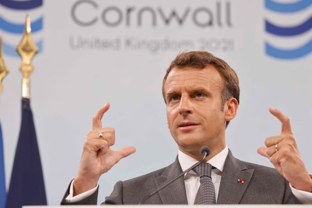 <p>France's President Emmanuel Macron takes part in a press conference on the final day of the G7 summit in Carbis Bay</p>