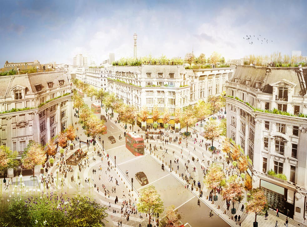 <p>Artist impression showing future transformation of Oxford Circus with traffic continuing on Regent Street and two new piazzas on Oxford Street</p>