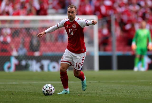 <p>Denmark's Christian Eriksen in action against Finland</p>