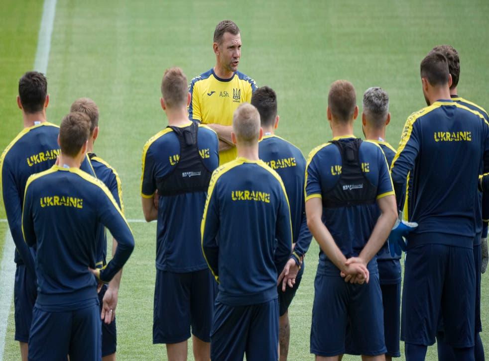 Andriy Shevchenko speaks to his Ukraine squad