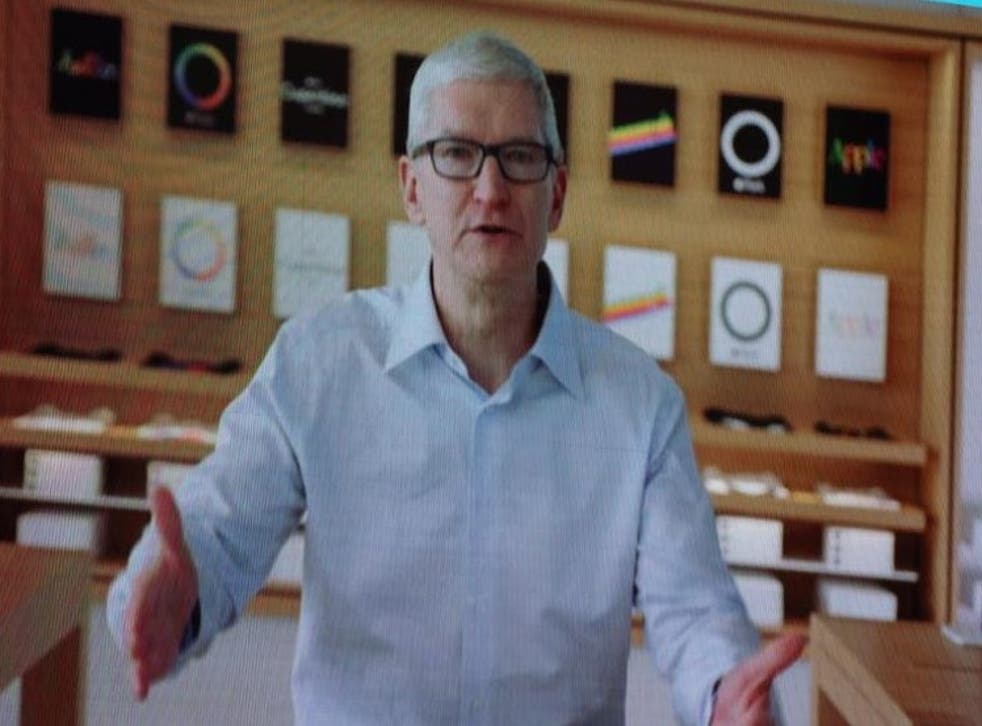 <p>Apple CEO Tim Cook speaking remotely at the VivaTech 2021 conference in Paris on 16 June, 2021 </p>
