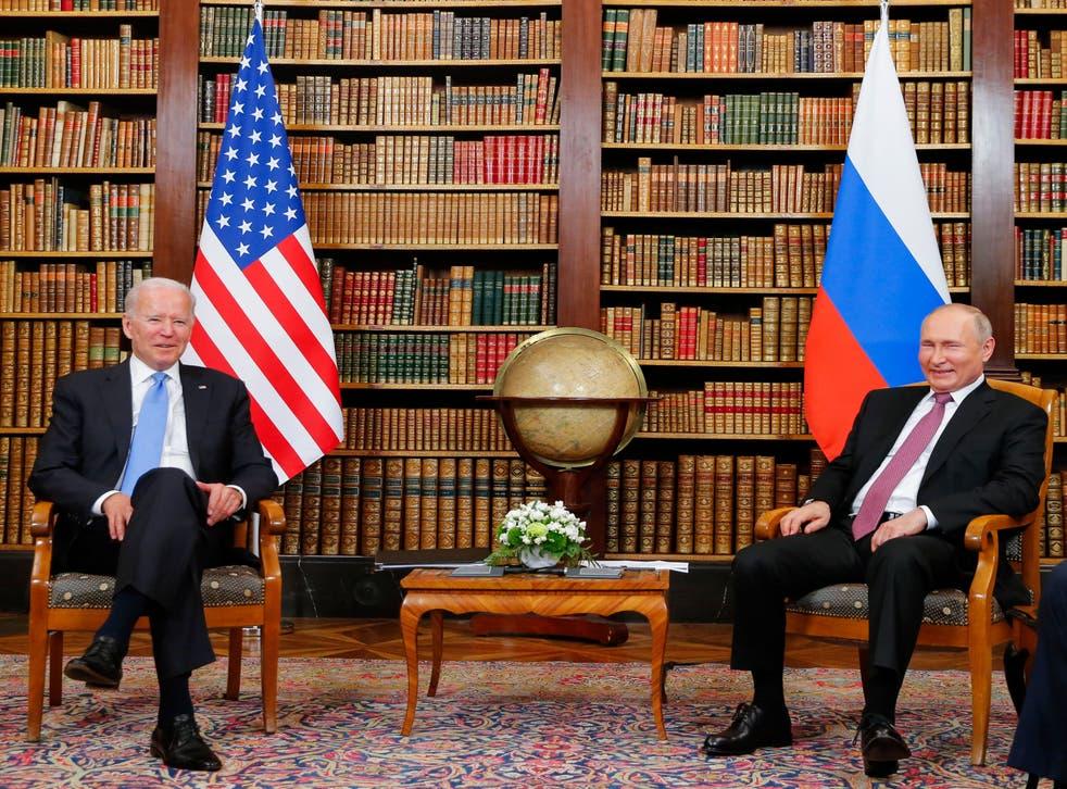 <p>President Joe Biden meets with his Russian counterpart Valdimir Putin at the Villa la Grange in Geneva on Thursday</p>