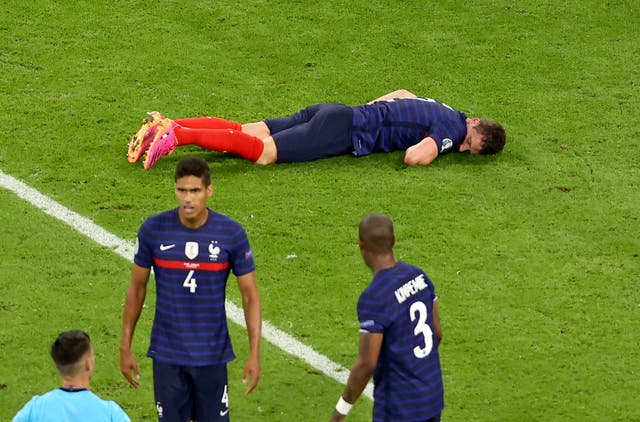 <p>Benjamin Pavard was knocked out against Germany</p>
