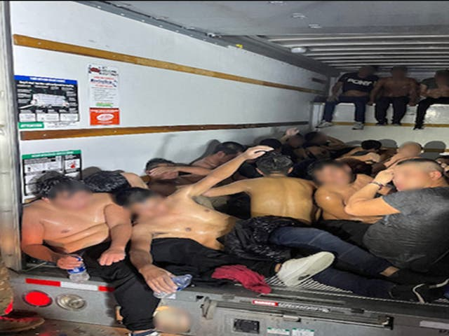 <p>A U-Haul truck carrying 33 migrant men in the cargo hold was found by US Border Patrol agents near Van Horn, Texas</p>