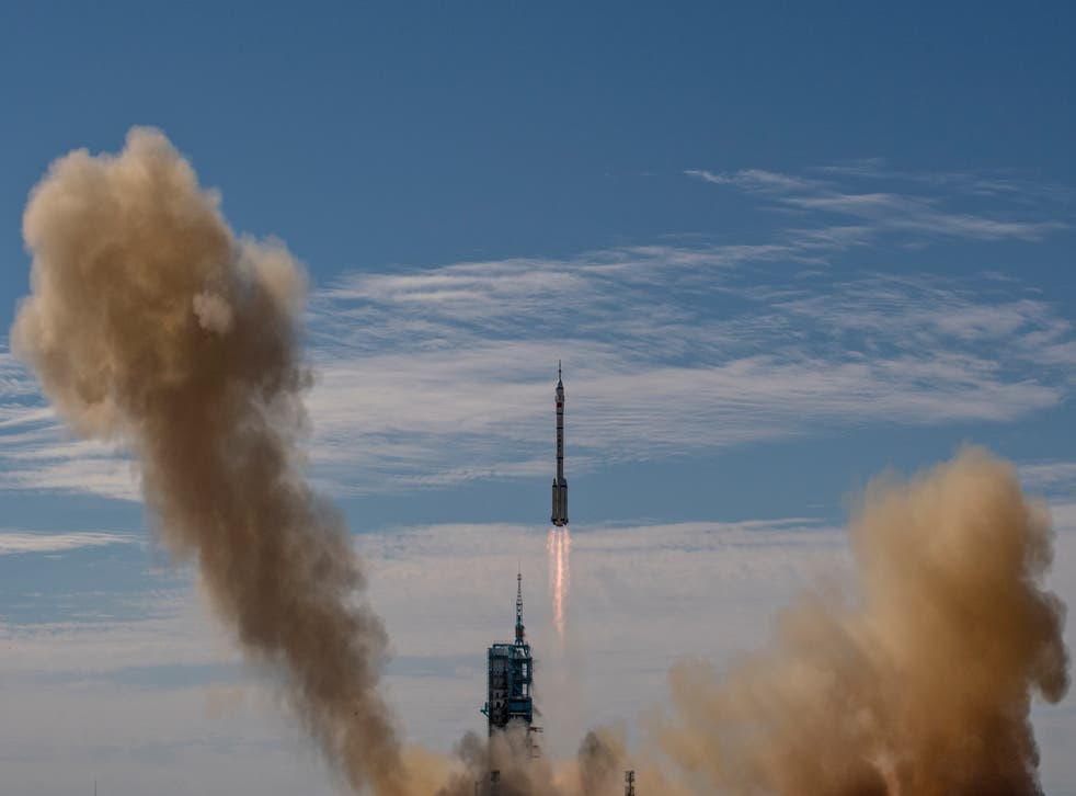 <p>Shenzhou-12 spacecraft from China's Manned Space Agency onboard the Long March-2F rocket launches with three Chinese astronauts onboard at the Jiuquan Satellite Launch Center on 17 June, 2021, in Jiuquan, Gansu province, China</p>