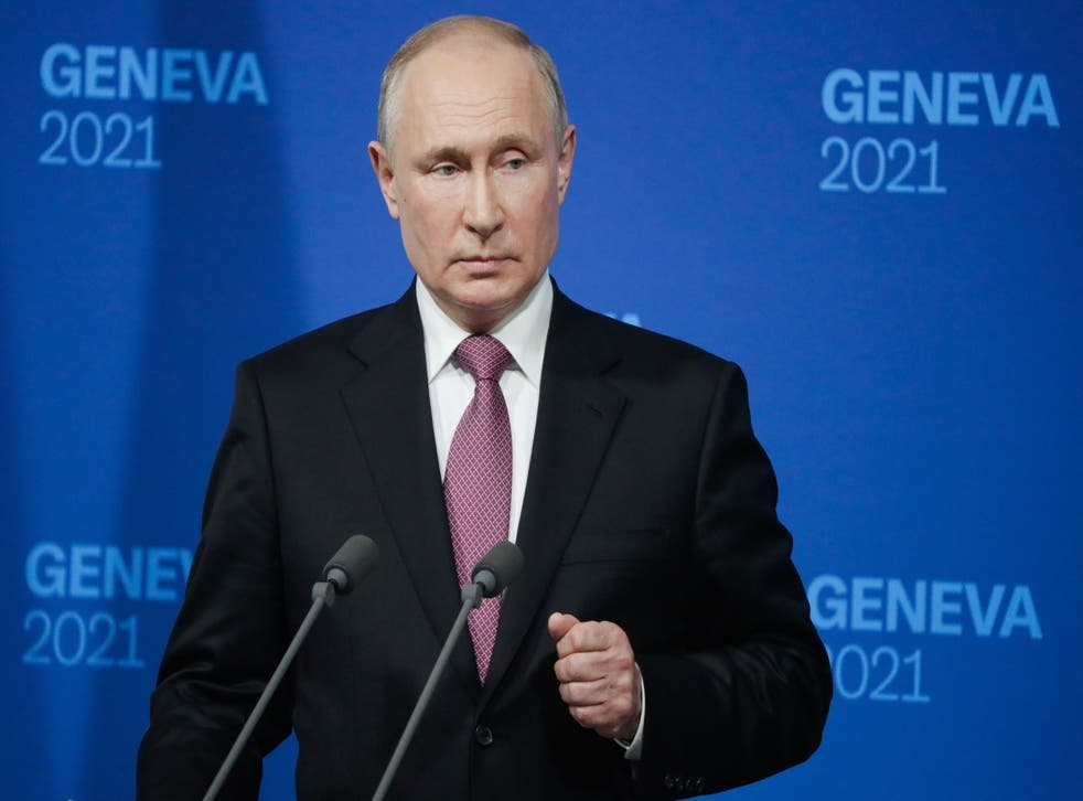 <p>Russian President Vladimir Putin holds a news conference after the US-Russia summit between himself and President Joe Biden at the Villa La Grange, in Geneva</p>