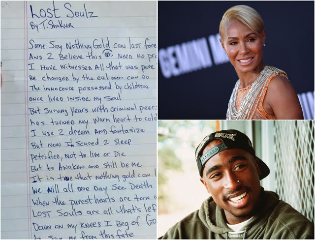 <p>Left: The poem Tupac wrote for Jada Pinkett Smith</p>