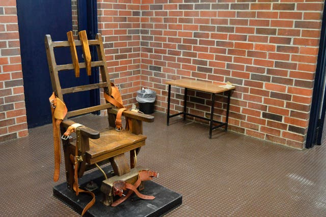 <p>File image: This March 2019 file photo provided by the South Carolina Department of Corrections shows the state's electric chair in Columbia, SC. Two South Carolina inmates scheduled to die want an appellate court to halt their deaths by electrocution</p>