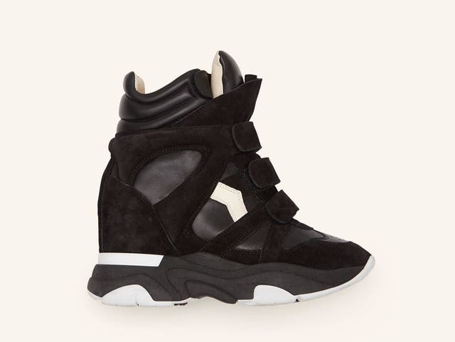 <p>Isabel Marant's new Balskee wedge trainer, which updates the designer's iconic original, the Beckett</p>
