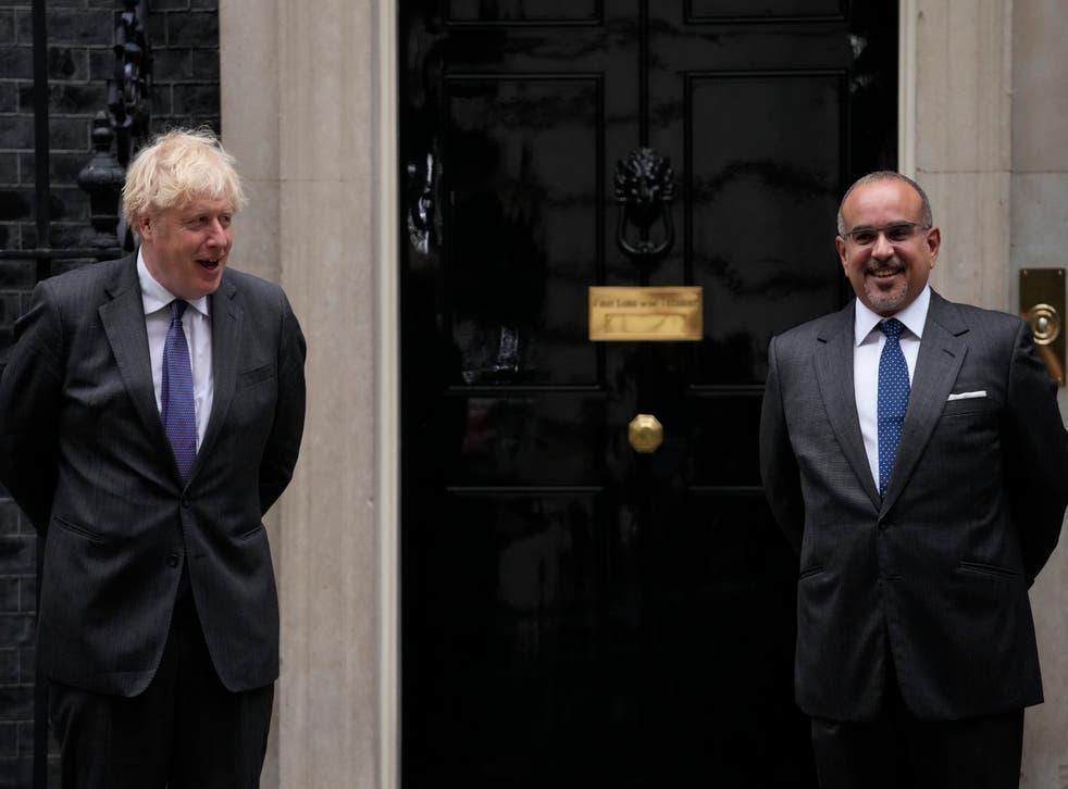 <p>Boris Johnson met with Salman bin Hamad Al Khalifa on Thursday</p>