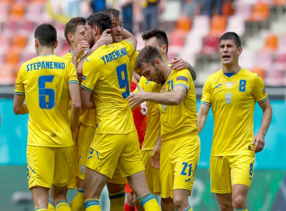 <p>Ukraine celebrate a goal</p>