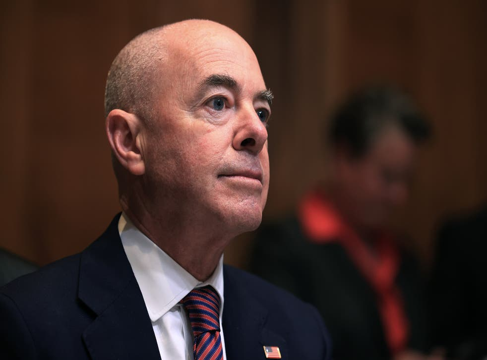 <p>Homeland Security Secretary Alejandro Mayorkas testifies before the Senate Appropriations Subcommittee on Homeland Security in the Dirksen Senate Office Building on Capitol Hill on May 26, 2021 in Washington, DC. Mr Mayorkas has branded questioning on whether Vice President Kamala Harris will visit the southern border 'disrespectful'.</p>