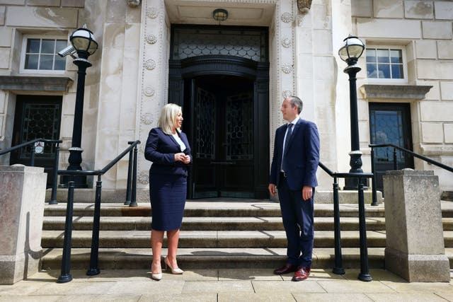 <p>Paul Givan and Michelle O'Neill outside Parliament Buildings, Belfast, after they were nominated first minister and deputy first minister respectively, on Thursday </p>