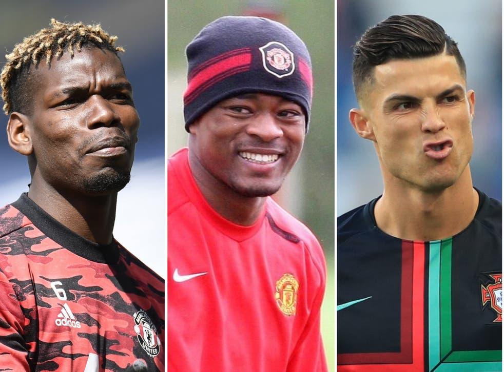 Patrice Evra, centre, poked fun at Paul Pogba, left, and Cristiano Ronaldo, right