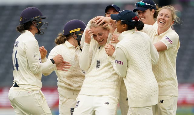 Sophie Ecclestone celebrates a wicket during a strong end to the day for England
