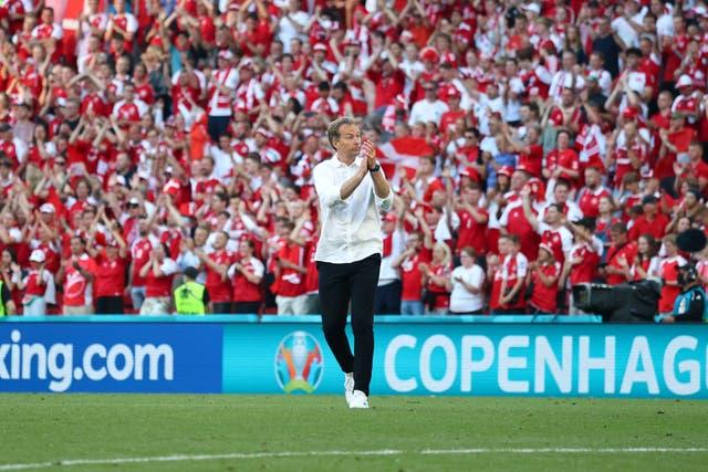 <p>Denmark head coach Kasper Hjulmand is convinced his team can still make the last 16 at Euro 2020</p>