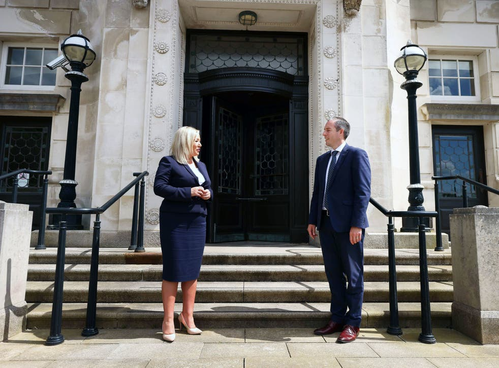 <p>Michelle O'Neill and Paul Givan outside the parliament building in Belfast on Thursday</p>