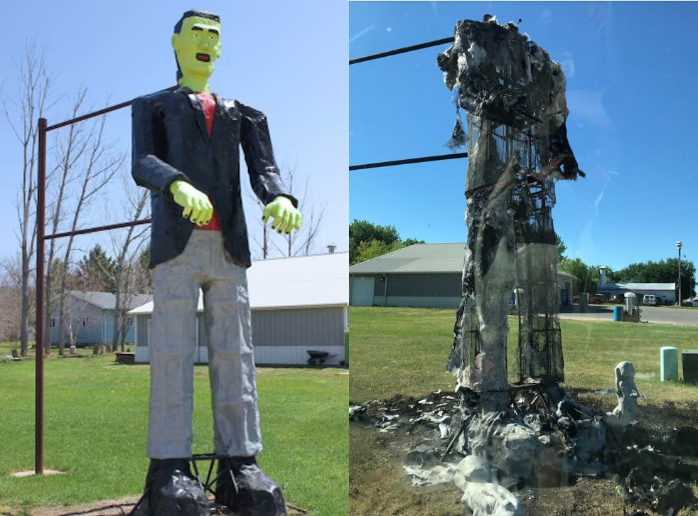 <p>Neighbour charged with torching 20-foot tall Frankenstein statue worth $14,000</p>