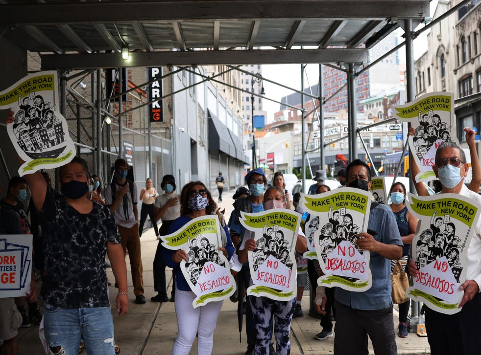 <p>File image: Demonstrators gather at Brooklyn Housing court during a 'No Evictions, No Police' national day of action on 1 September, 2020 in New York City</p>