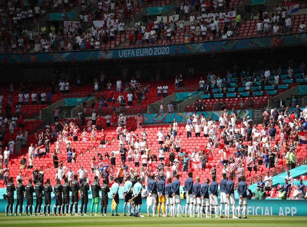 <p>England and Croatia line up at Wembley ahead of their opening Euro 2020 match on 13 June, 2021. </p>