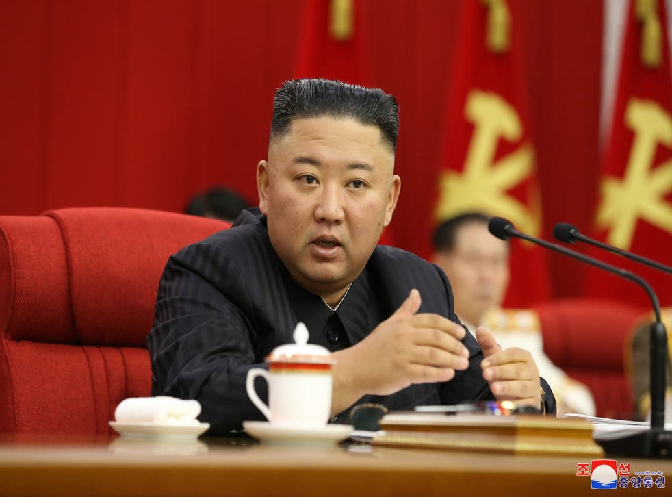 <p>Kim Jong-un speaks on 17 June during the third day of the 3rd Plenary Meeting of the 8th Central Committee of the Workers' Party of Korea (WPK) in Pyongyang</p>